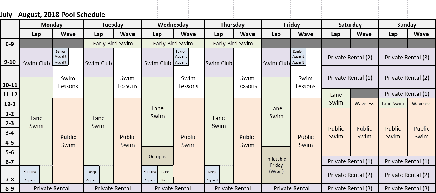 July - August, 2018 Pool Schedule