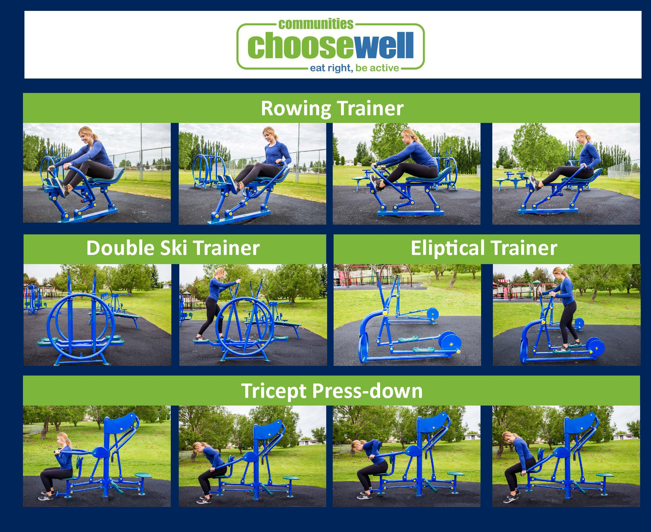 Collage of Rowing Trainer, Double Ski Trainer, Elliptical Trainer, and Tricept Press-down equipment