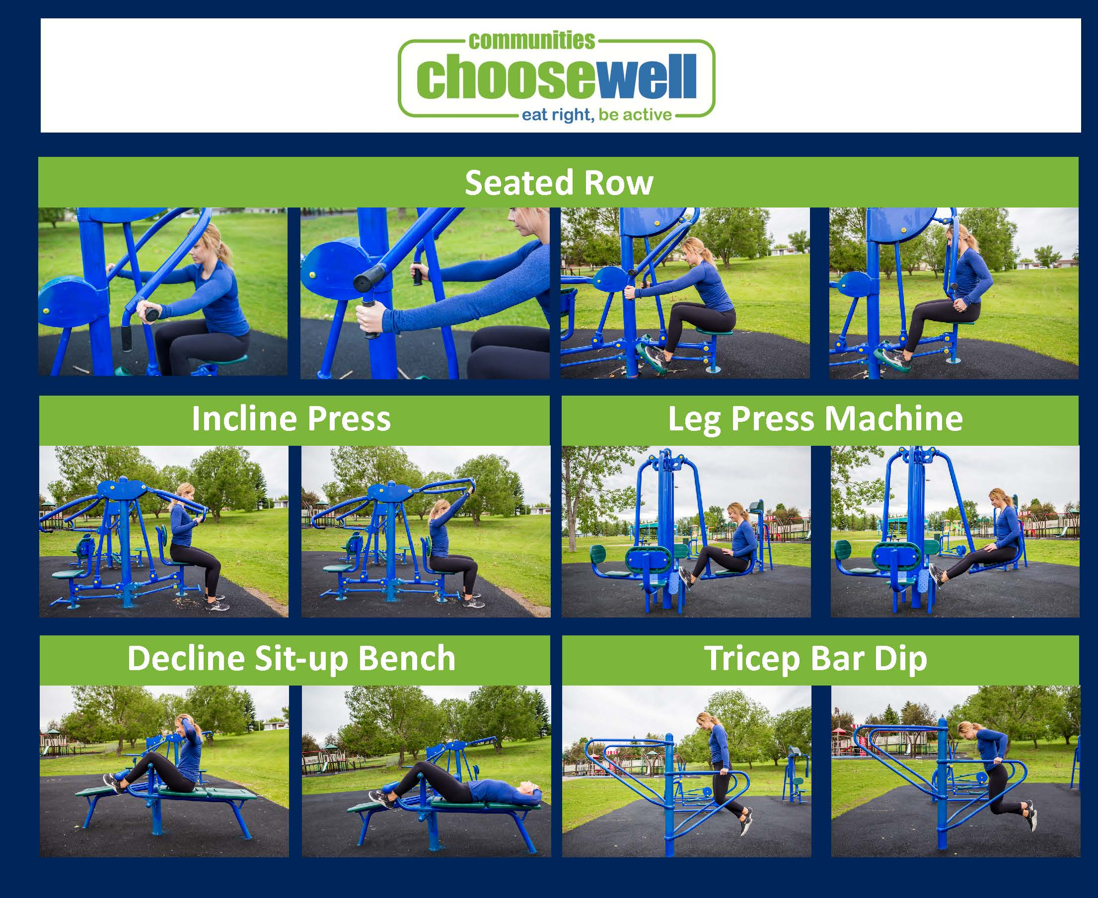 Collage showing Incline Press, Leg Press Machine, Decline Sit-up Bench, and Tricep Bar Dip equipment