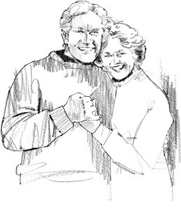 Drawing of Senior Couple