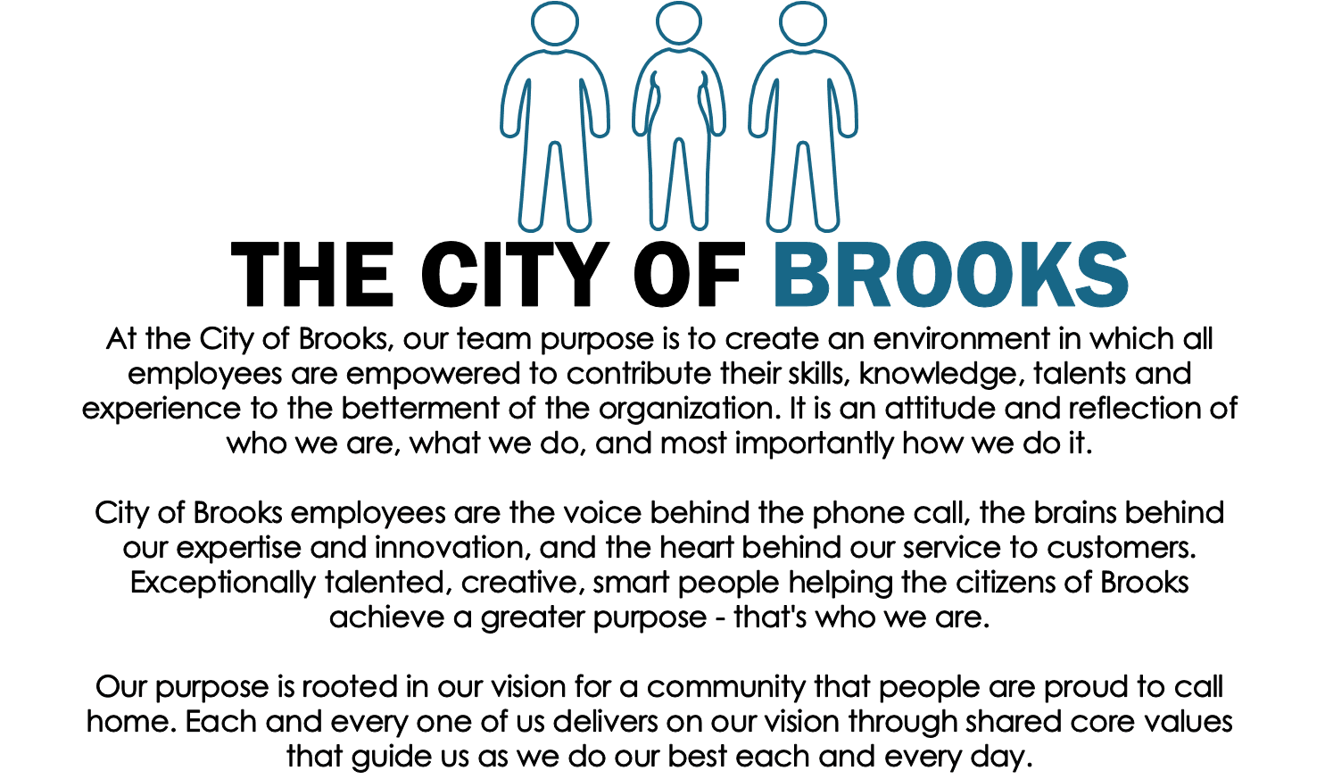 A description of the culture and purpose of the staff of the City of Brooks