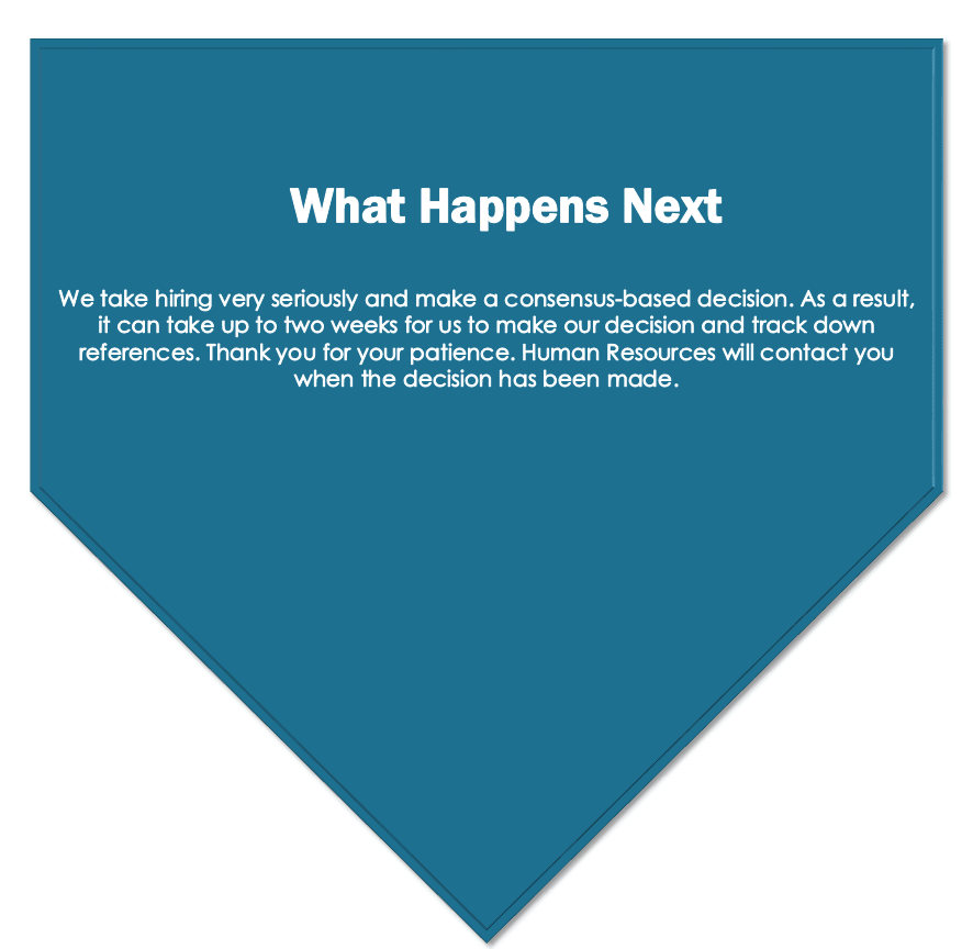 Description of 'What Happens Next' and waiting to hear back from the City of Brooks